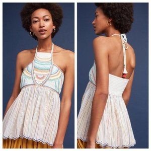 Anthropologie Floreat Itzel Embroidered Halter Top